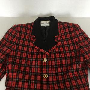 vintage red  plaid blazer jacket shoulder pads